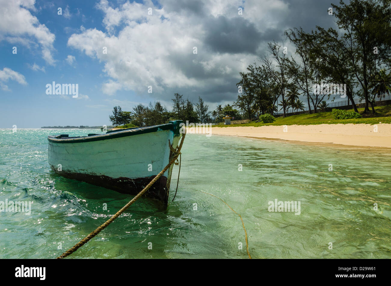 Boat in the lagoon at Bel Ombre 3 - Stock Image