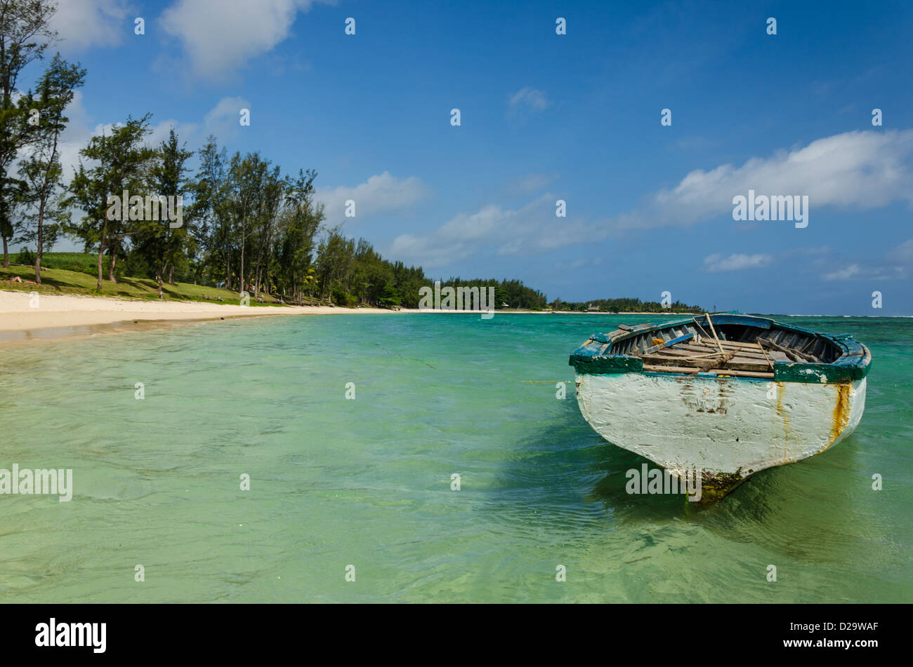 Boat in the lagoon at Bel Ombre 2 - Stock Image
