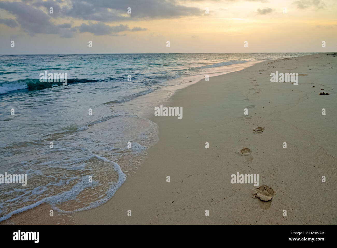 Footprints in sand at daybreak on the deserted beach at Punta Cana, Dominican Republic, Caribbean - Stock Image