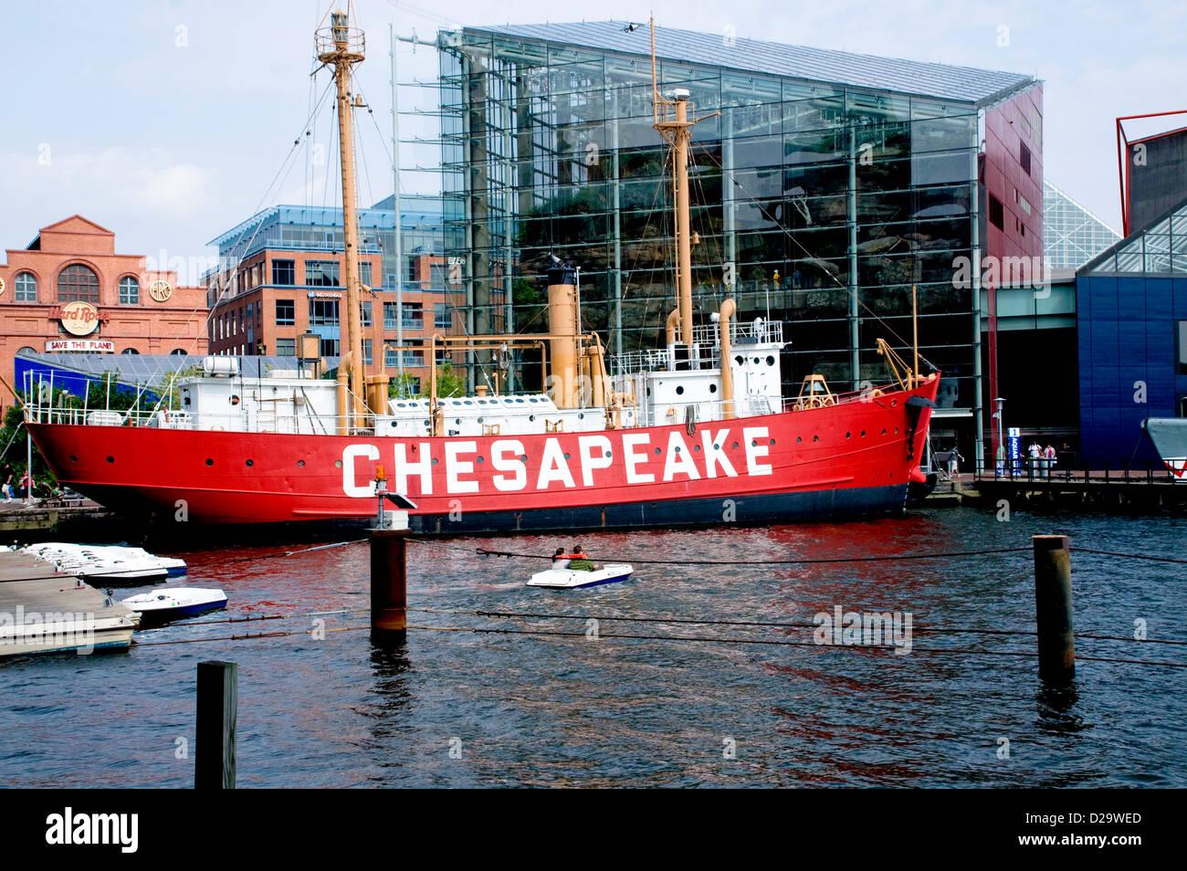 Postcard Lightship Chesapeake Ship MD National Aquarium in Baltimore Maryland