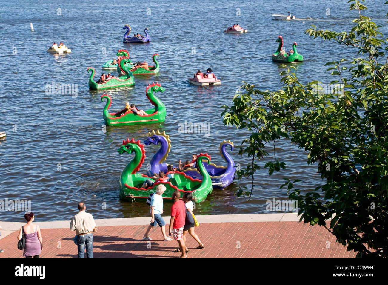 Baltimore Harbor, Maryland, Paddle Boats - Stock Image