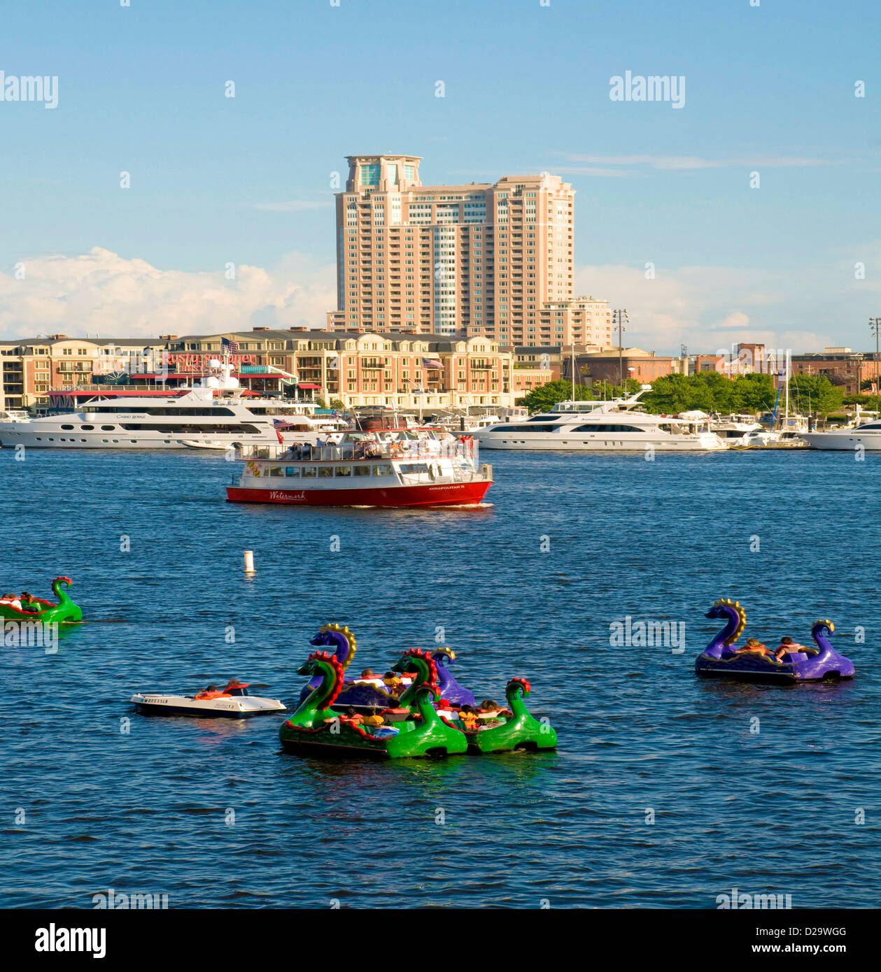 Baltimore Harbor, High Rise Buildings, Maryland, Paddle Boats, Water Taxis, Yachts - Stock Image
