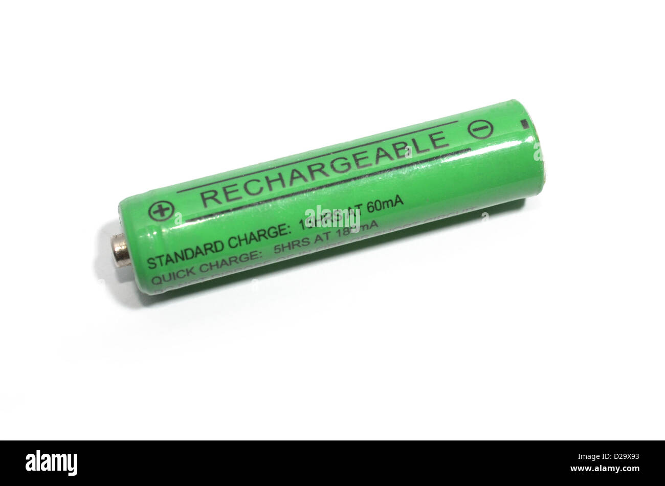Green rechargeable AA battery - Stock Image
