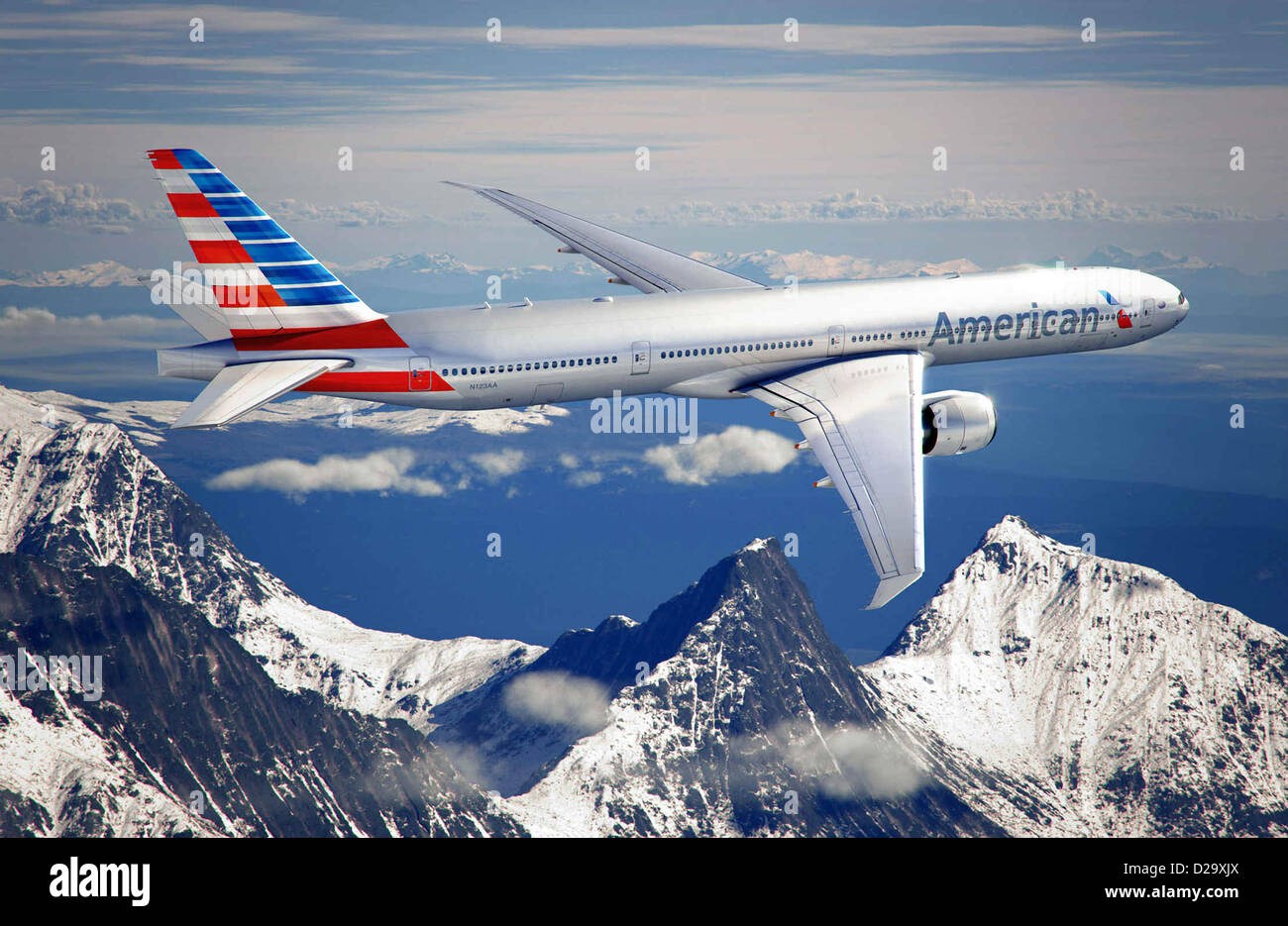 American Airlines unveiled a new logo and livery that will grace the company new Boeing 777-300ER aircraft as part - Stock Image