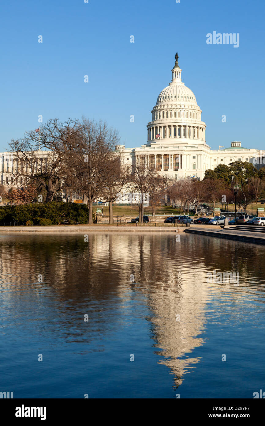 U.S. Capitol Rear Face and Reflecting Pool in Winter Afternoon Sunshine - Stock Image