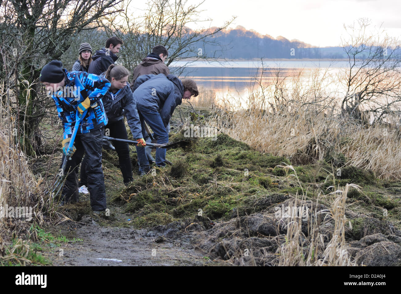 Teenagers clearing a path after floods at Muirshiel country park at Castle Semple, Lochwinnoch, Scotland - Stock Image