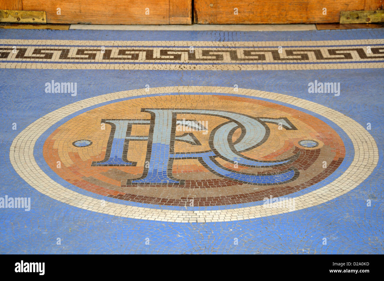 Mosaic tiles form the RFC letters of Rangers Football Club at Ibrox stadium in Glasgow, Scotland - Stock Image