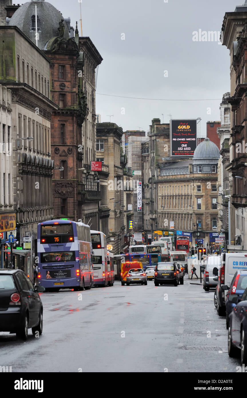 Renfield street in Glasgow city centre. - Stock Image