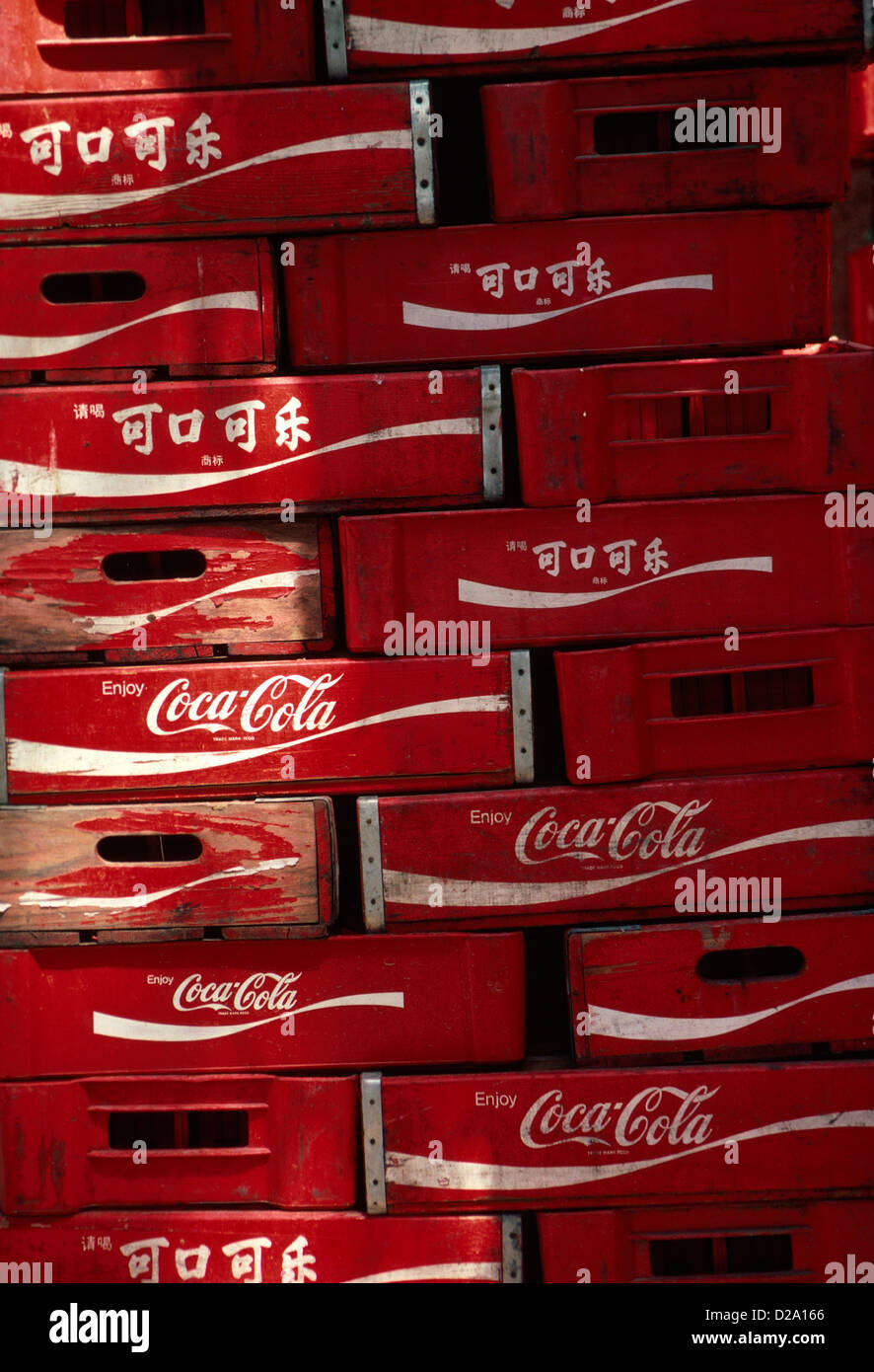 China, Beijing. Stacked Coca-Cola Crates - Stock Image