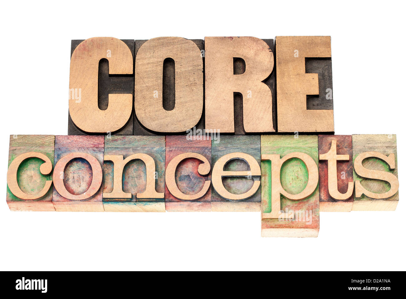 core concepts - isolated text in vintage letterpress wood type printing blocks - Stock Image
