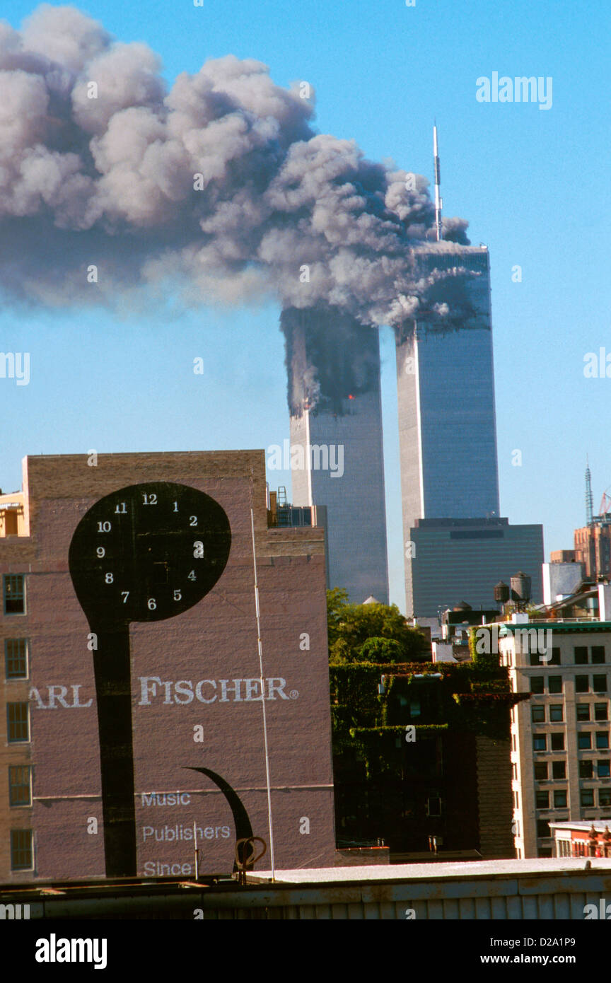 New York City, 9/11/01. World Trade Center Attack. - Stock Image
