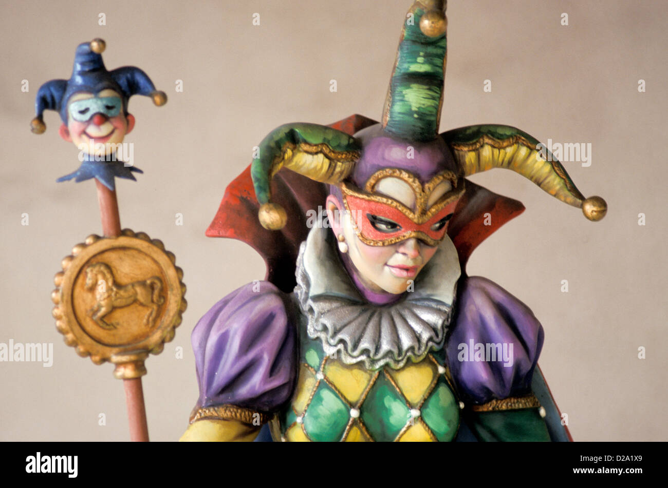 Louisiana. New Orleans. Statue Of Mardi Gras Court Fool. - Stock Image