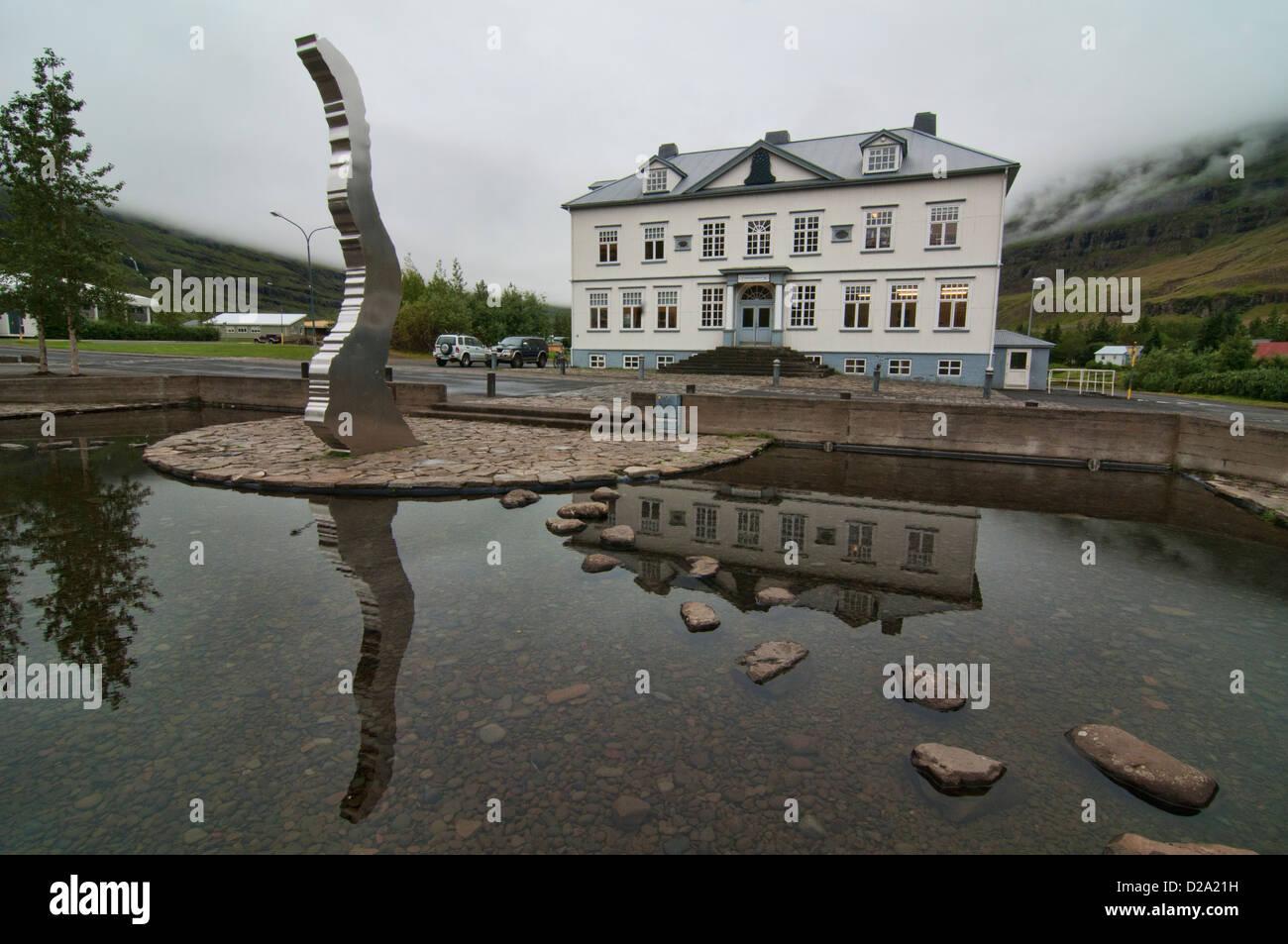 local school in Seydisfjordur, Iceland - Stock Image