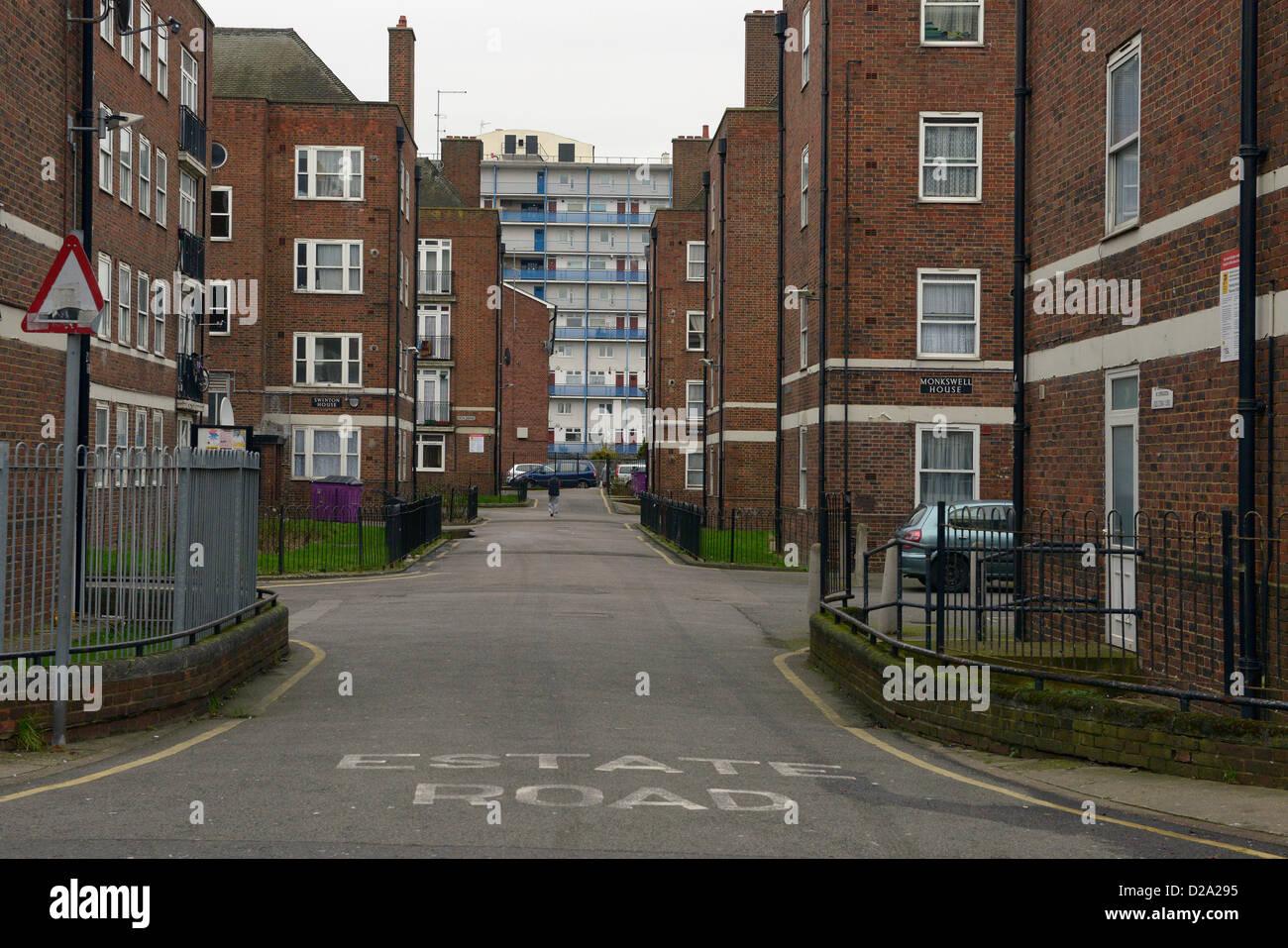 council housing estate bethnal green london - Stock Image