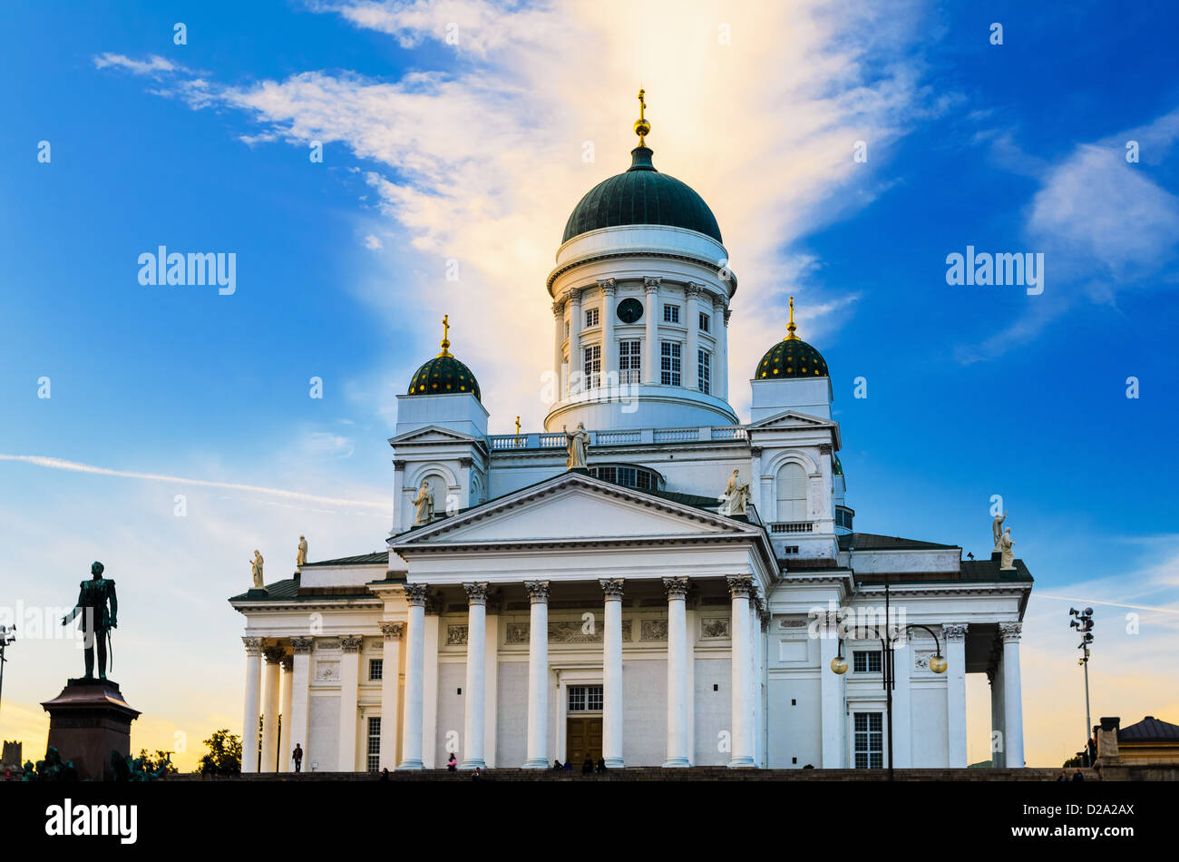 The Helsinki Lutheran Cathedral in evening light, Finland - Stock Image