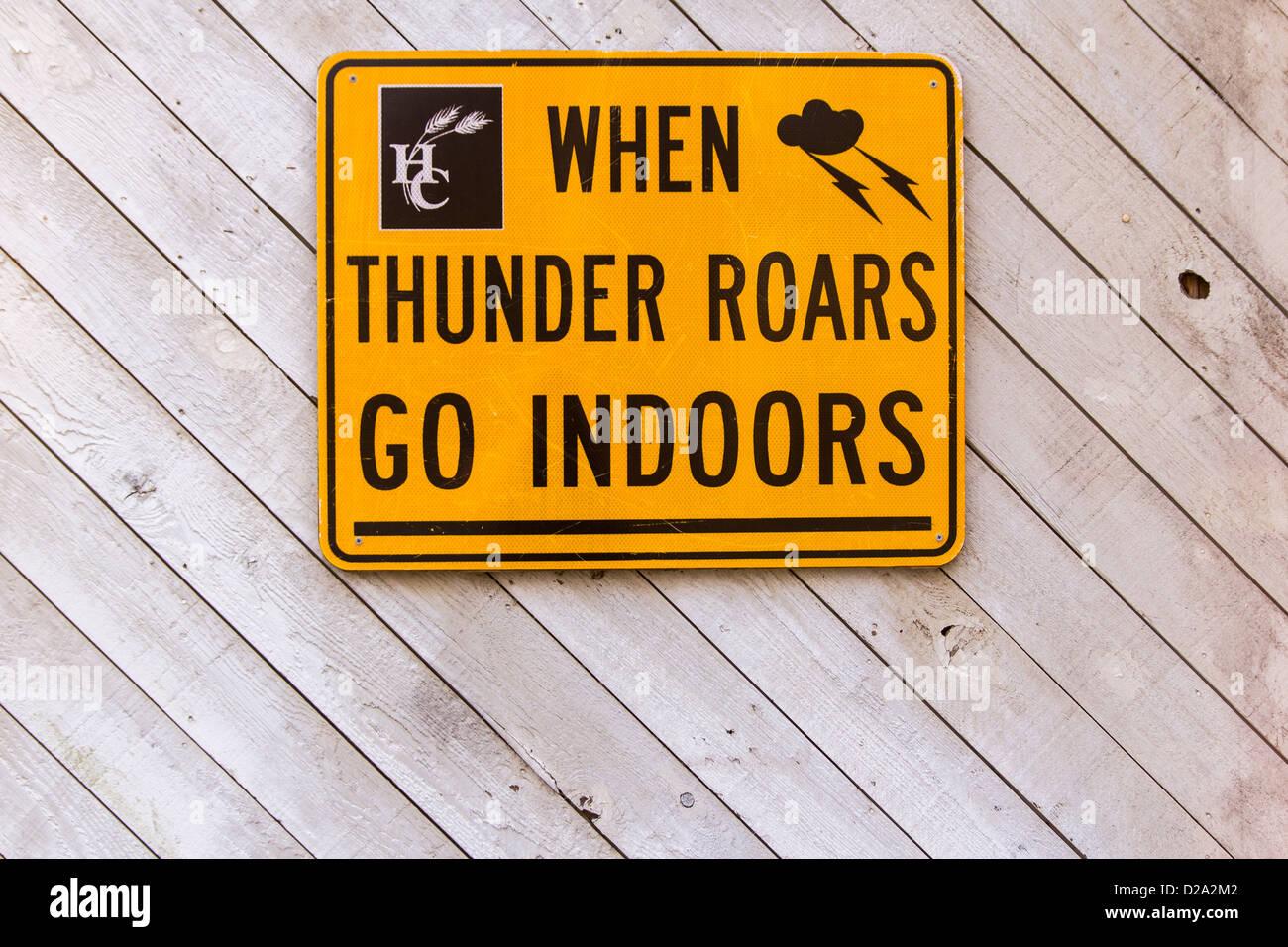 When Thunder Roars Go Indoors - Stock Image