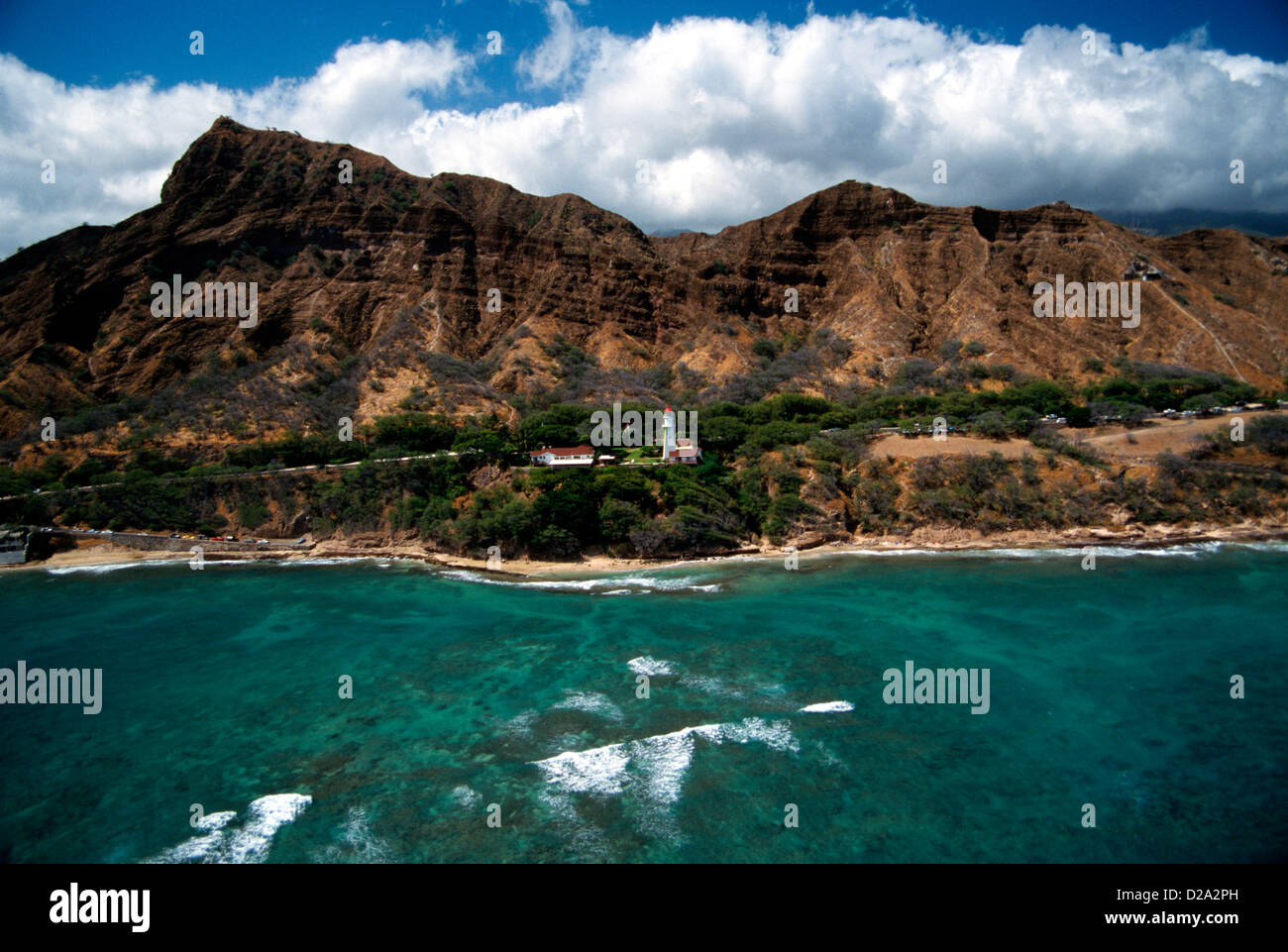 Hawaii Oahu Diamond Head Lighthouse Beach Park Coast Guard Reservation And Volcano