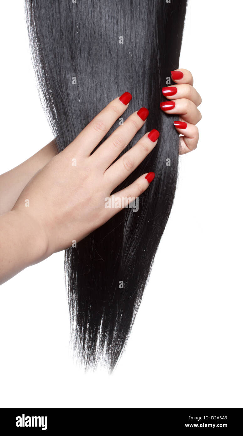 Long straight black hair with red nails Stock Photo: 53082577 - Alamy