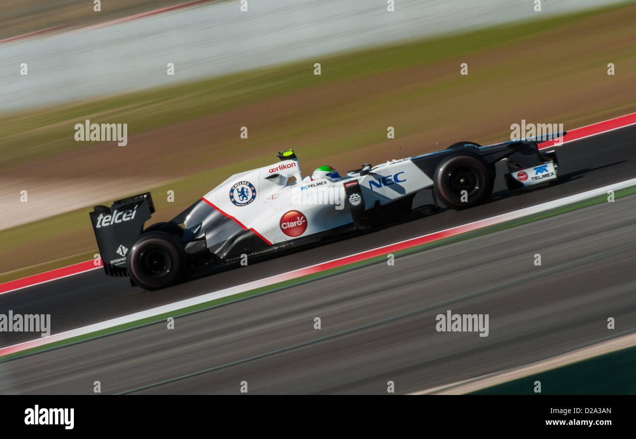 Sergio Perez of Sauber drives his Formula 1 car during qualification for the 2012 US Grand Prix in Austin, Texas - Stock Image