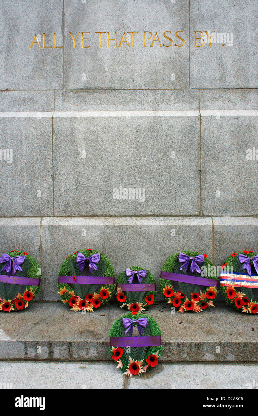 Remembrance Day wreathes at the base of the Victory Square Cenotaph in Victory Square,, Vancouver, British Columbia, Stock Photo