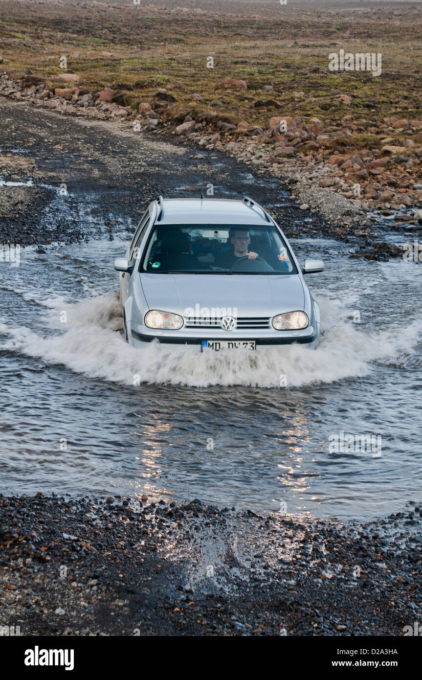 water crossing on the Kjölur Highland route across central Iceland - Stock Image