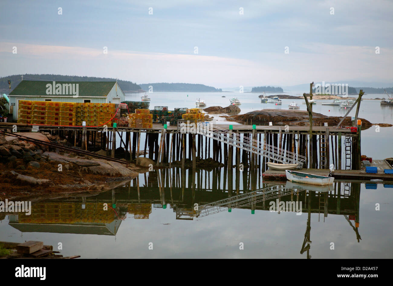 Lobster Pots Stacked On A Dock In Stonington, Maine. - Stock Image