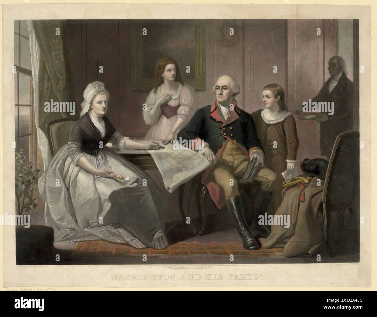 Washington And His Family / Original Painting By C. Schussele, Phila. ; Engraved By Wm. Sartain, Phila. C1864 - Stock Image
