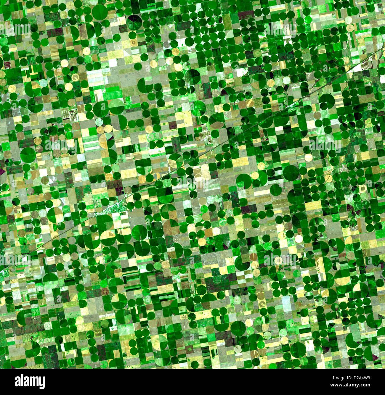 Satellite View Of Crop Circles In Kansas - Stock Image