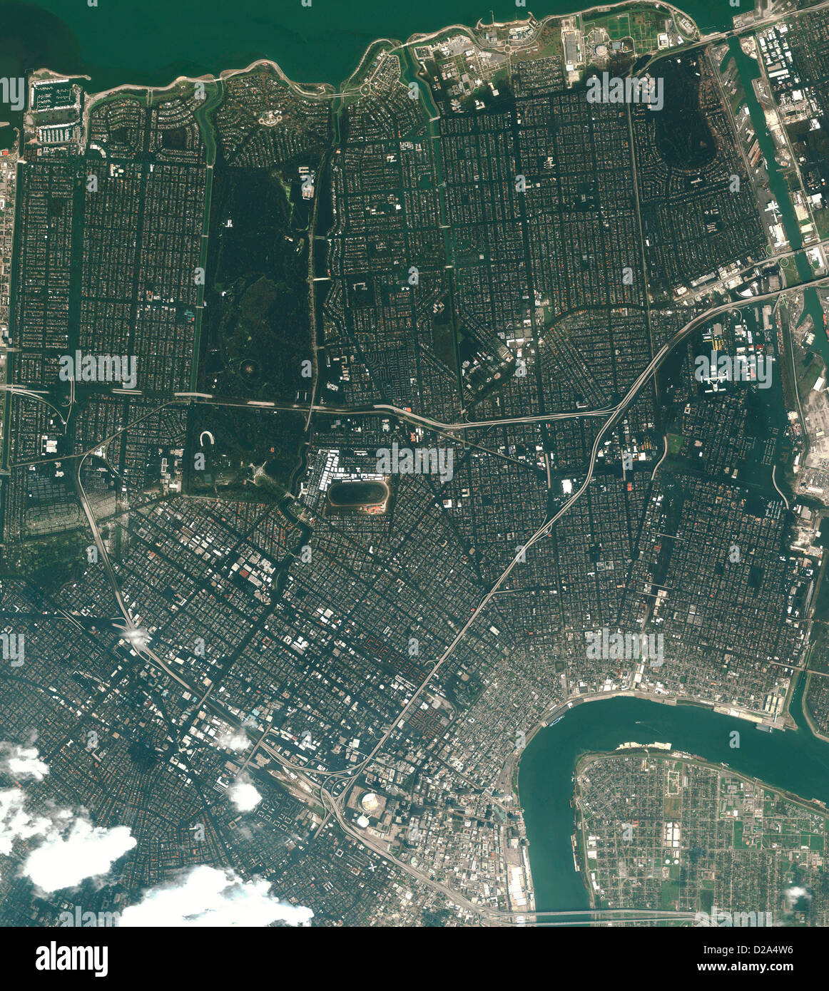 Satellite View Flooded New Orleans In Aftermath Hurricane Katrina (31 August 2005) (2 2 In Series See M2-0397 For - Stock Image