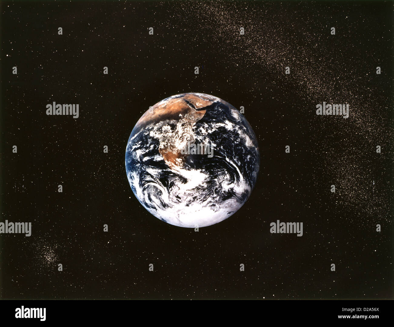 Earth, Seen From Apollo 17. Africa And Antarctica Visible. Star Background Added By Artist. - Stock Image