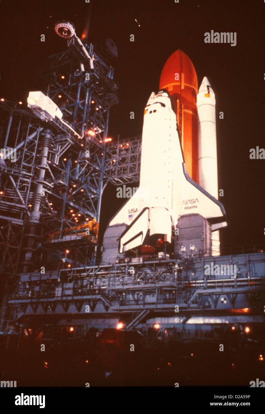 Stacked Space Shuttle For Mission 51-J With Orbiter Atlantis, August 1985. - Stock Image