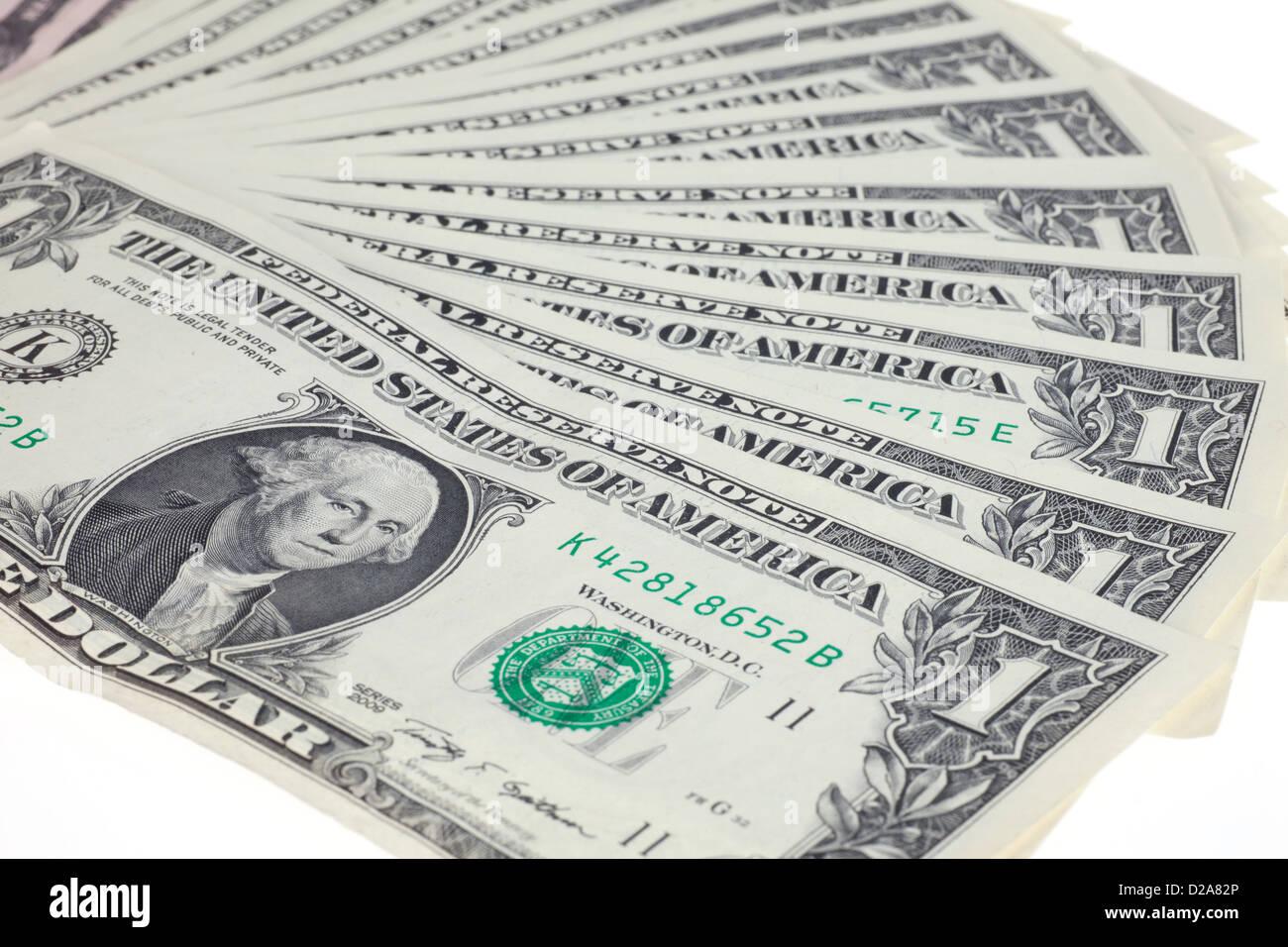 Berlin, Germany, U.S. dollar bills fanned - Stock Image