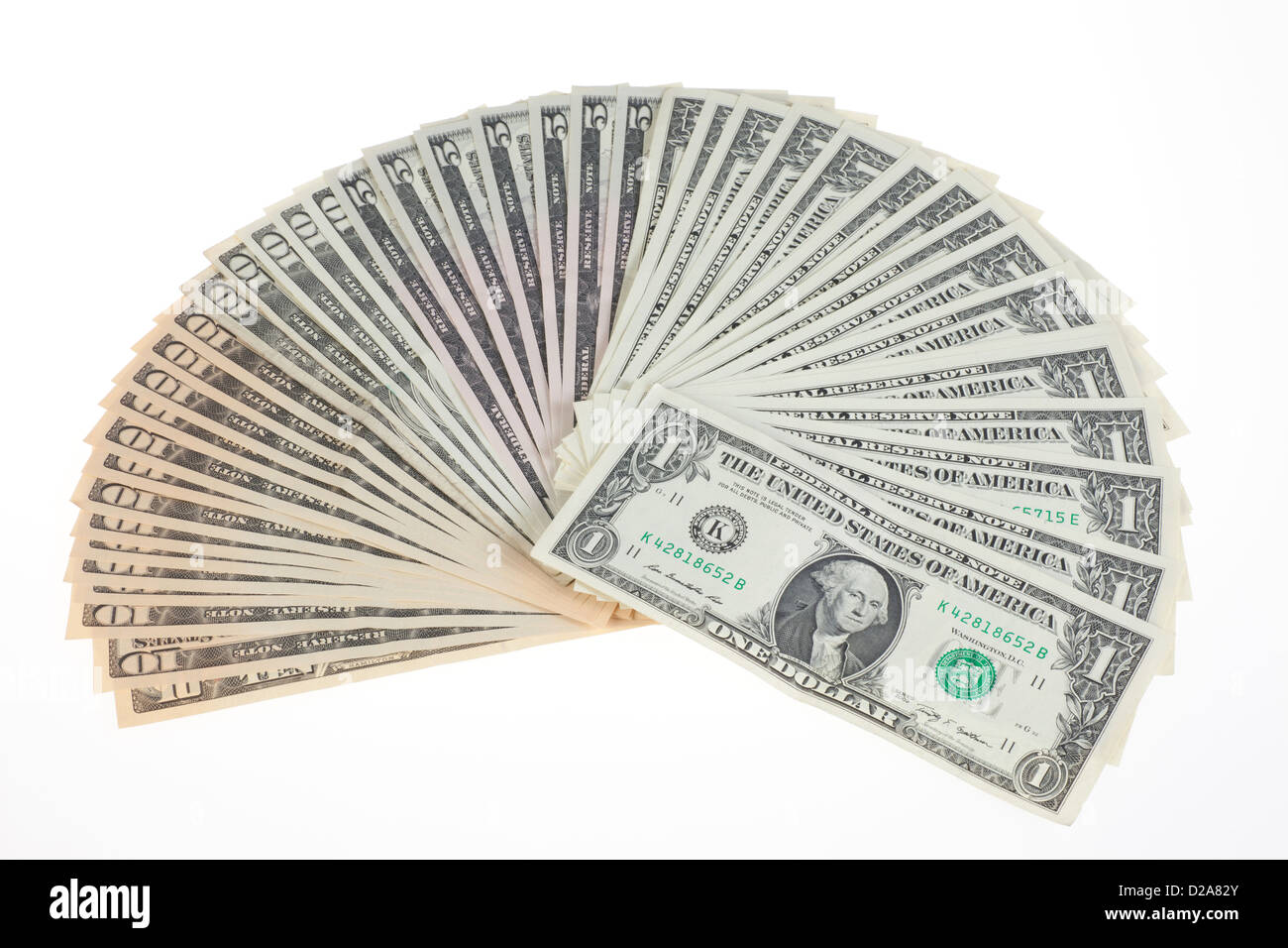 Berlin, Germany, U.S. dollar bills fanned - Stock Image