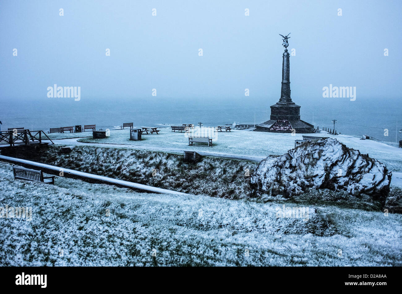 Aberystwyth, Wales, UK. 18th January 2013.     Some snowy weather but Aberystwyth on the west coast of Wales escapes - Stock Image
