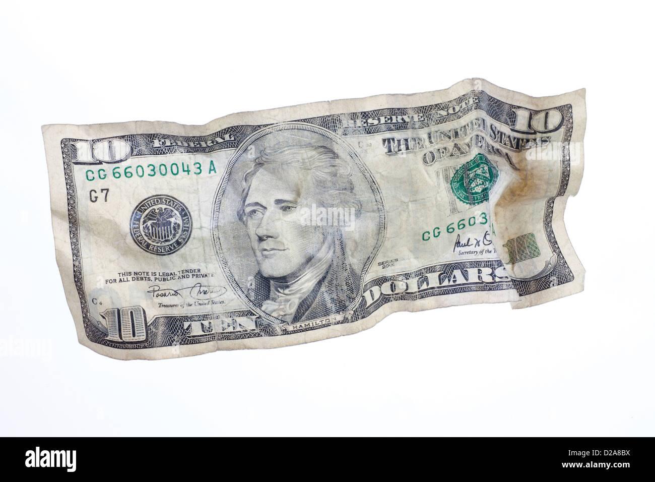 Berlin, Germany, crumpled U.S. dollar bill - Stock Image