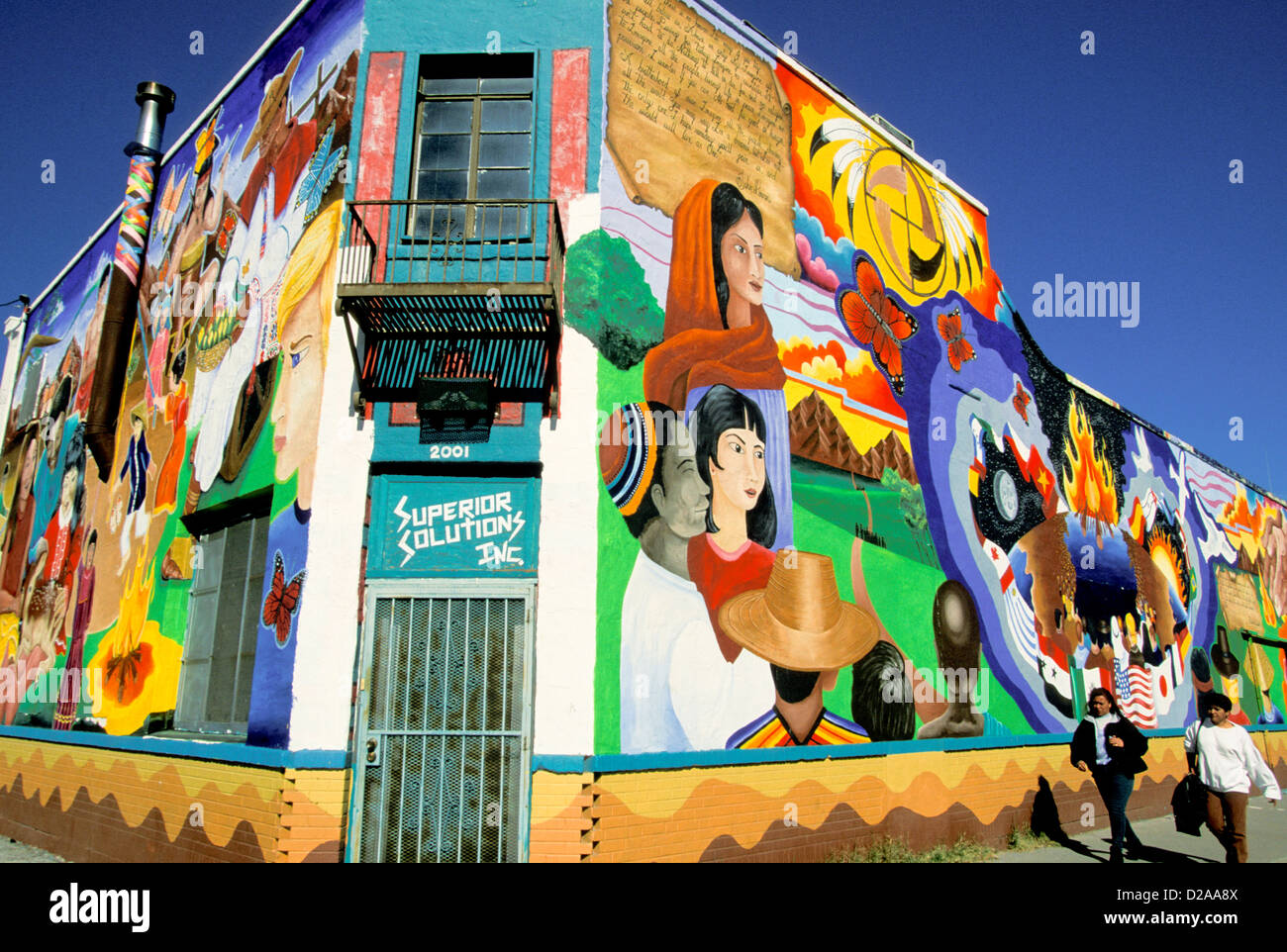 Texas, El Paso. Mural On Sides Of Building. - Stock Image