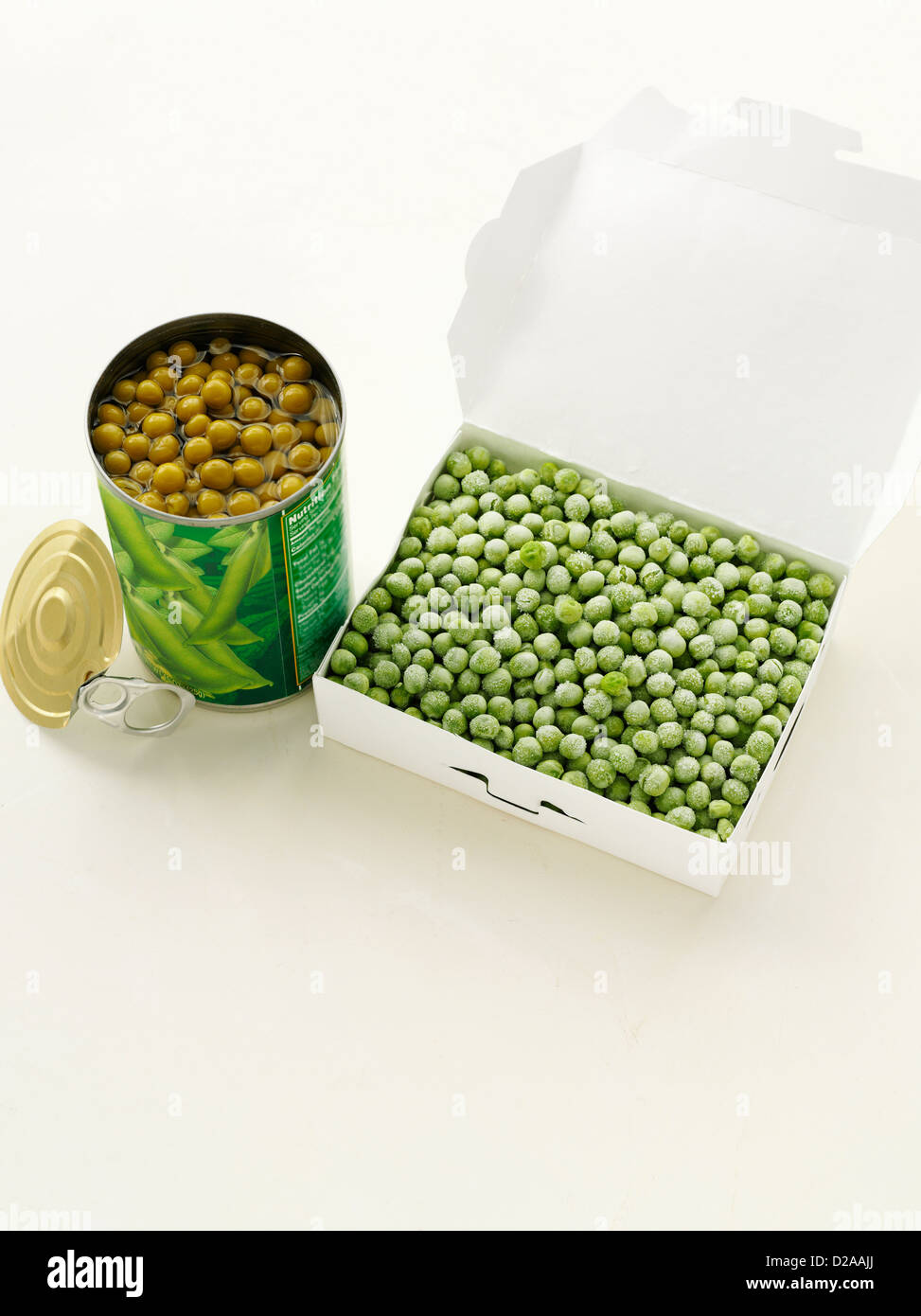 Canned peas with frozen peas - Stock Image