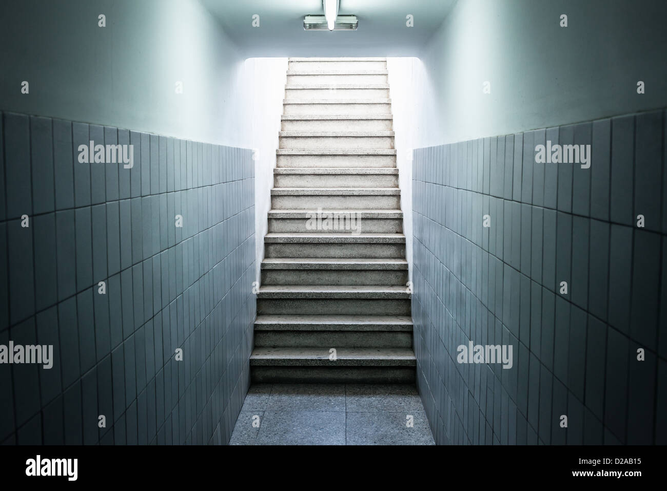 Empty staircase in building - Stock Image