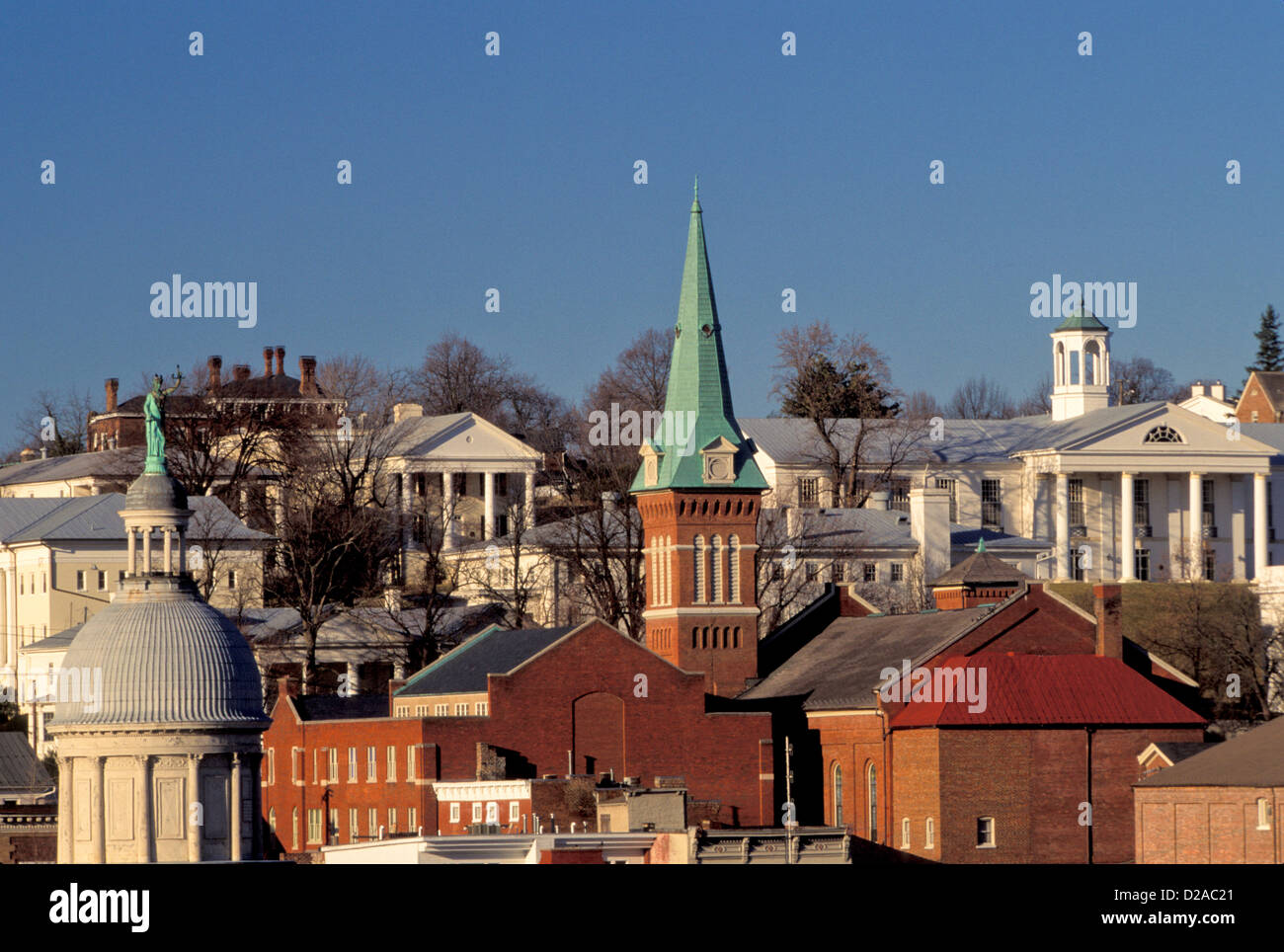 Virginia, Staunton. Skyline With Church Steeple And Government Buildings. - Stock Image