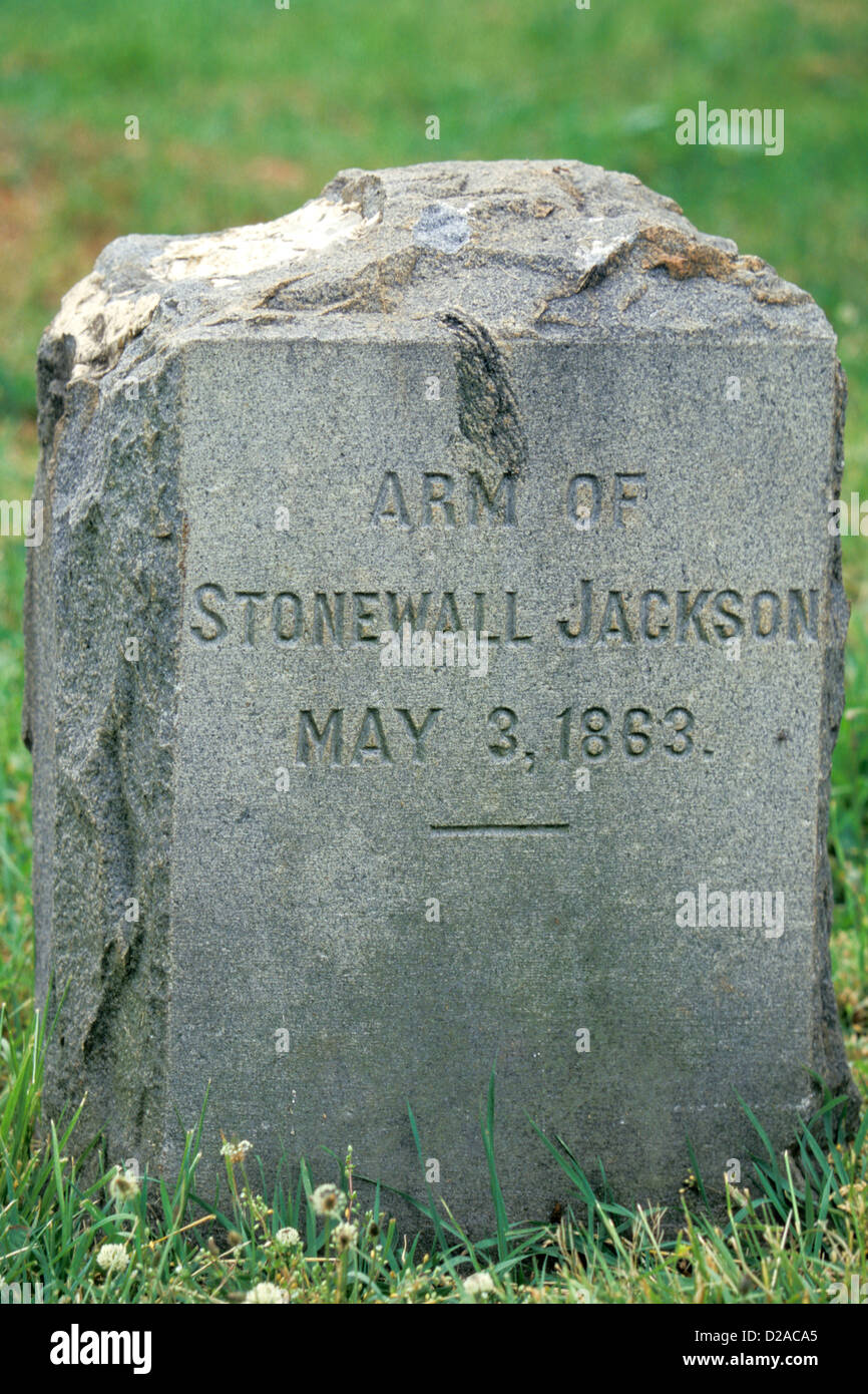 Virginia, Chancellorville, Headstone Of The Arm Of Stonewall Jackson - Stock Image