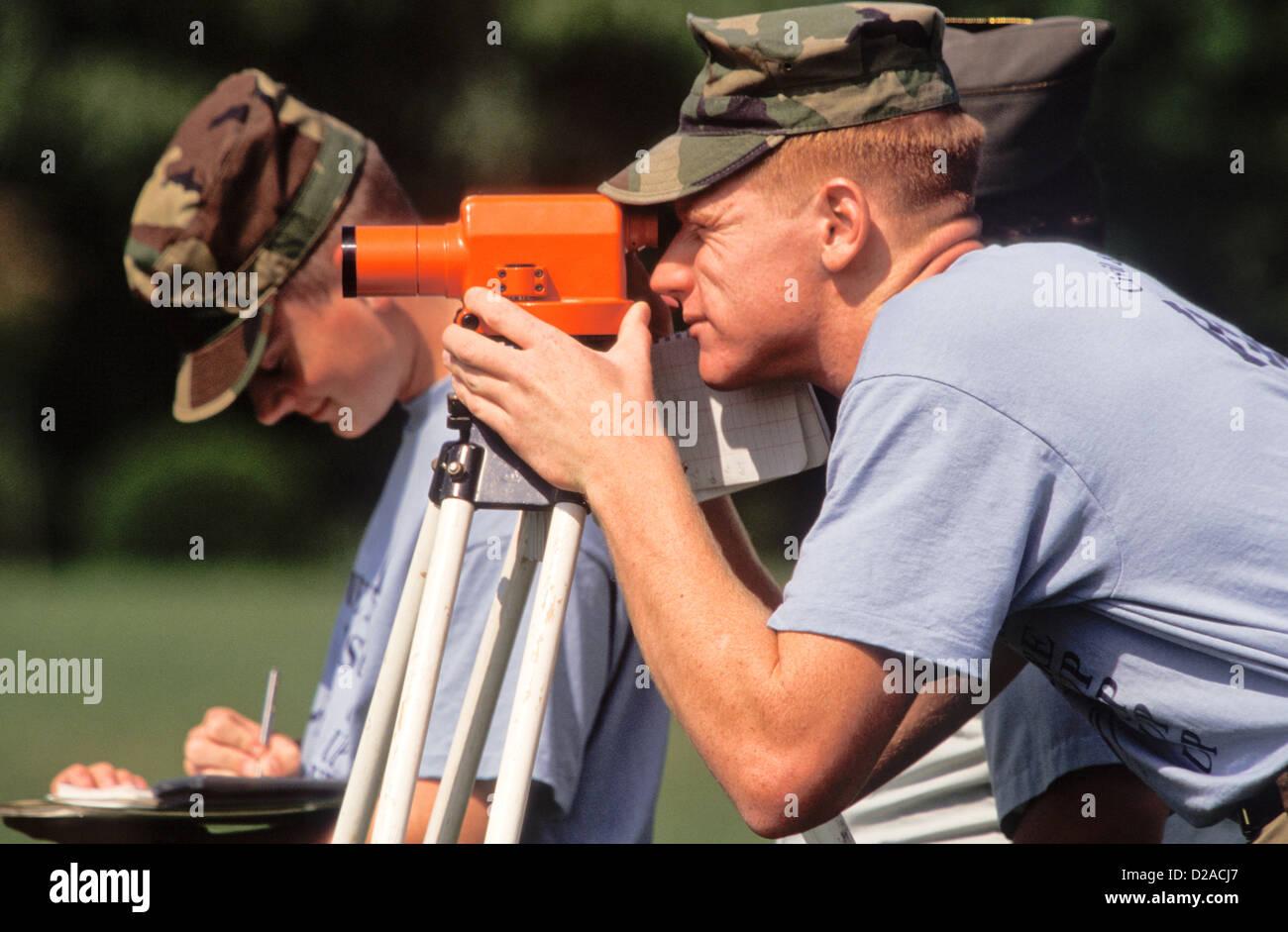 Two Men Doing Surveying Work. Virginia Military Institute, Lexington, Virginia Stock Photo