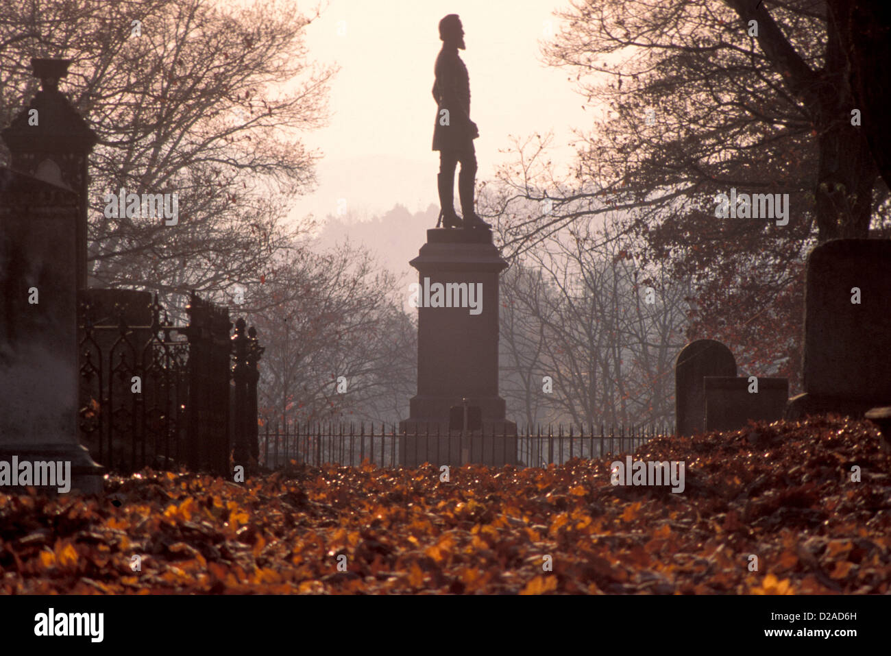 Virginia, Lexington. Stonewall Jackson Statue In Memorial Cemetery. - Stock Image