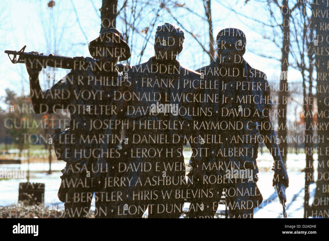 Washington, D.C. Double Exposure Of The Vietnam Memorial. Sculpture Of Soldiers Reflected In Wall. - Stock Image