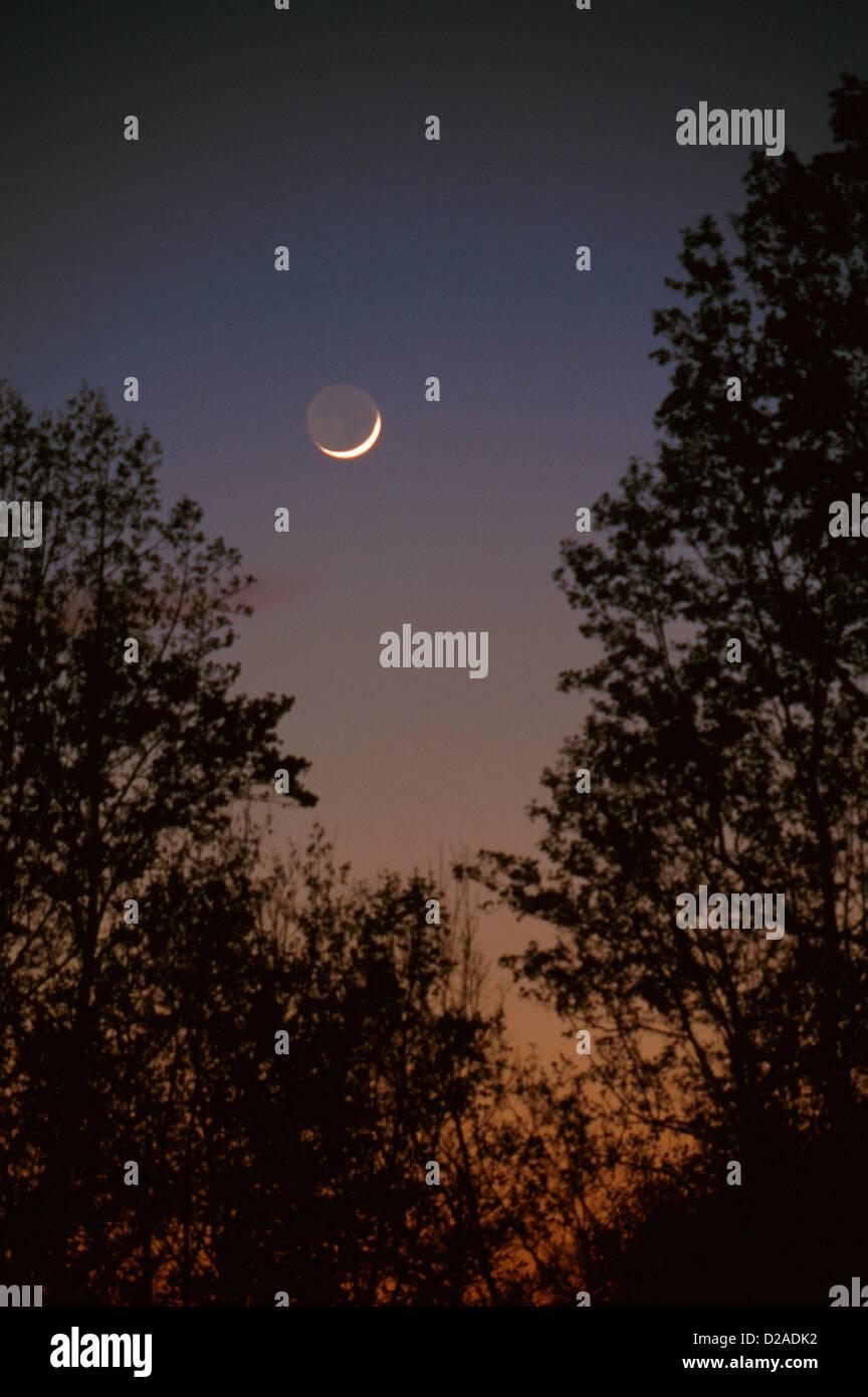 Virginia, Rockbridge County. Moonrise. - Stock Image
