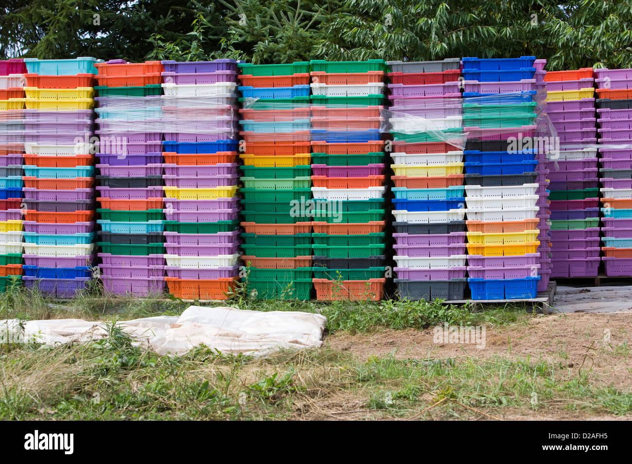 Stacks of plastic fish crates, Nova Scotia, Canada - Stock Image