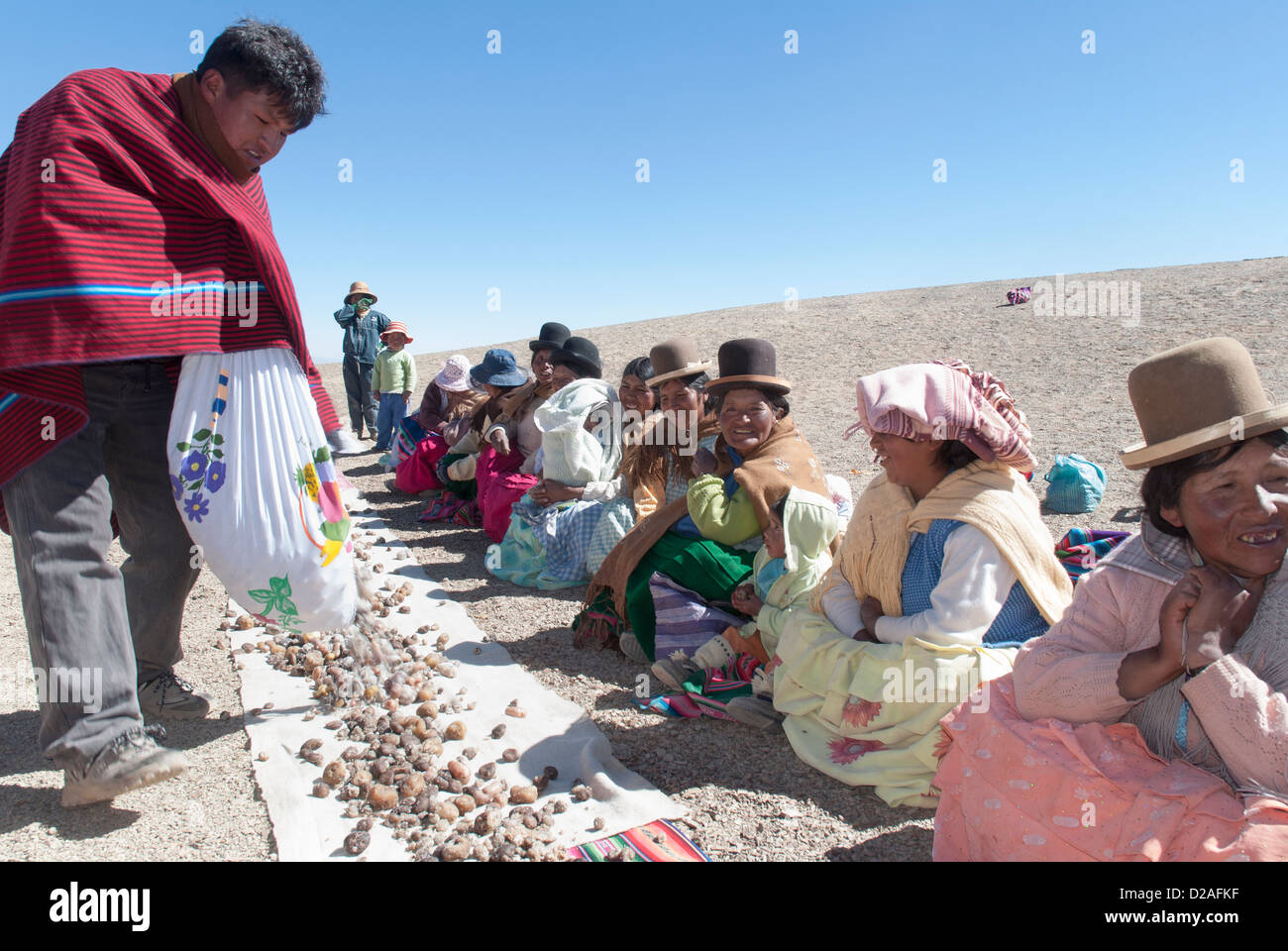 Aymara lunch in the Cordillera - Stock Image