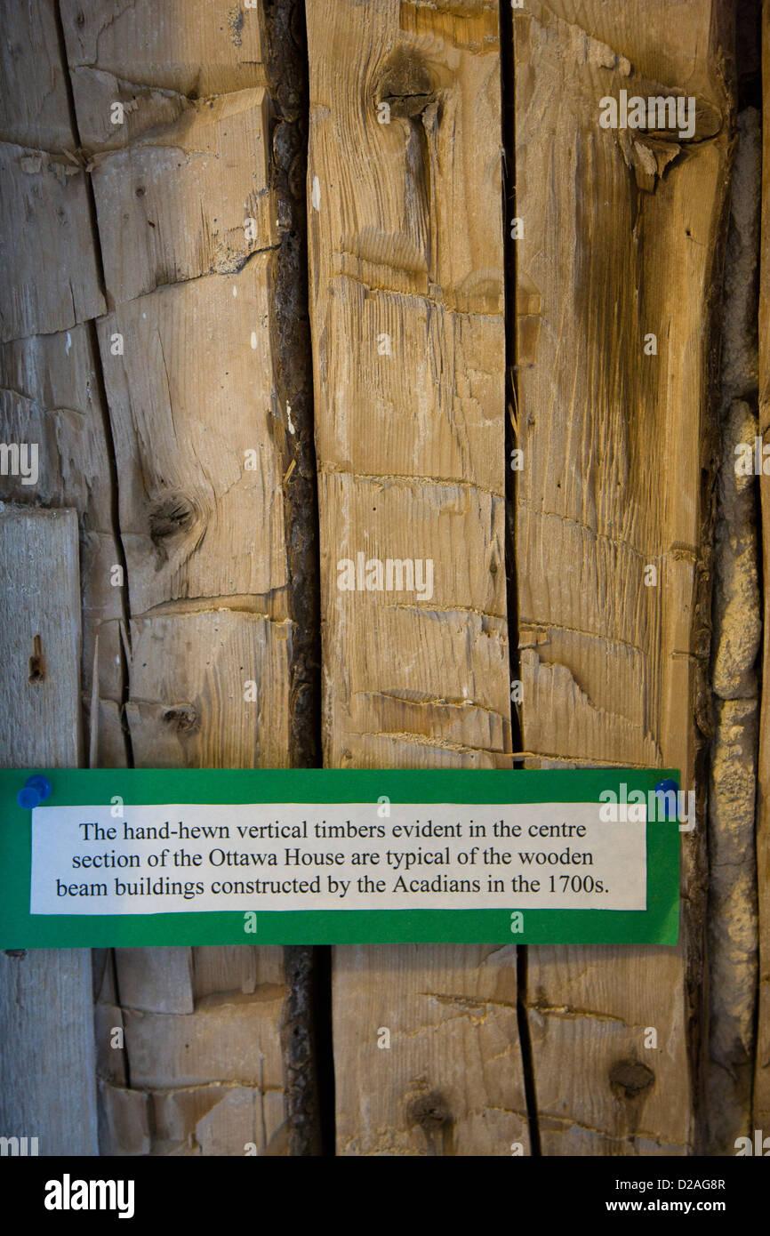 Timbers internal to Ottawa House Museum in Parrsboro, Nova Scotia - Stock Image