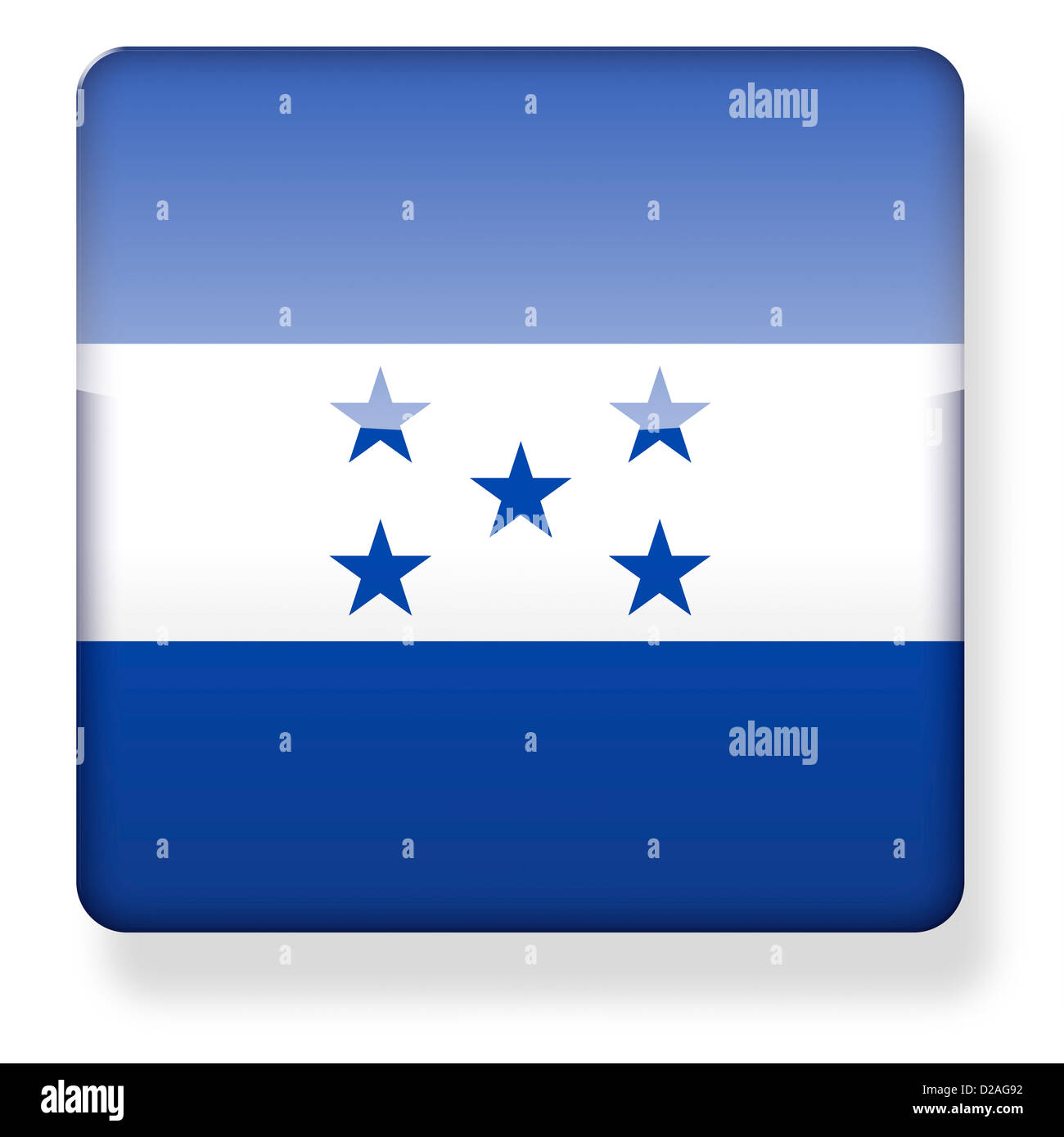 Honduras flag as an app icon. Clipping path included. Stock Photo