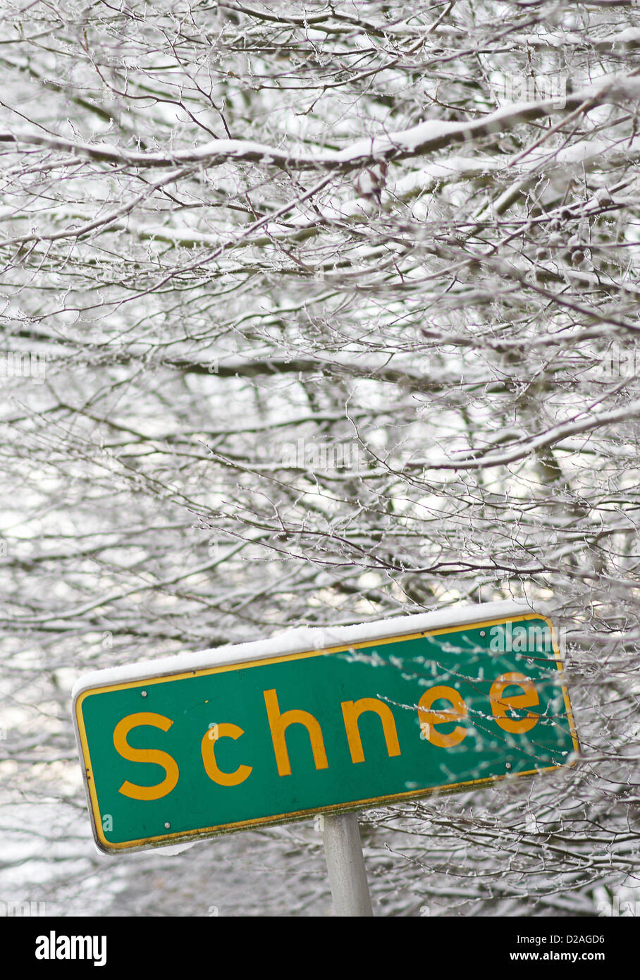 View of the place name sign of the district 'Schnee' (German for snow) in Witten, Germany, 18 January 2013. TheStock Photo