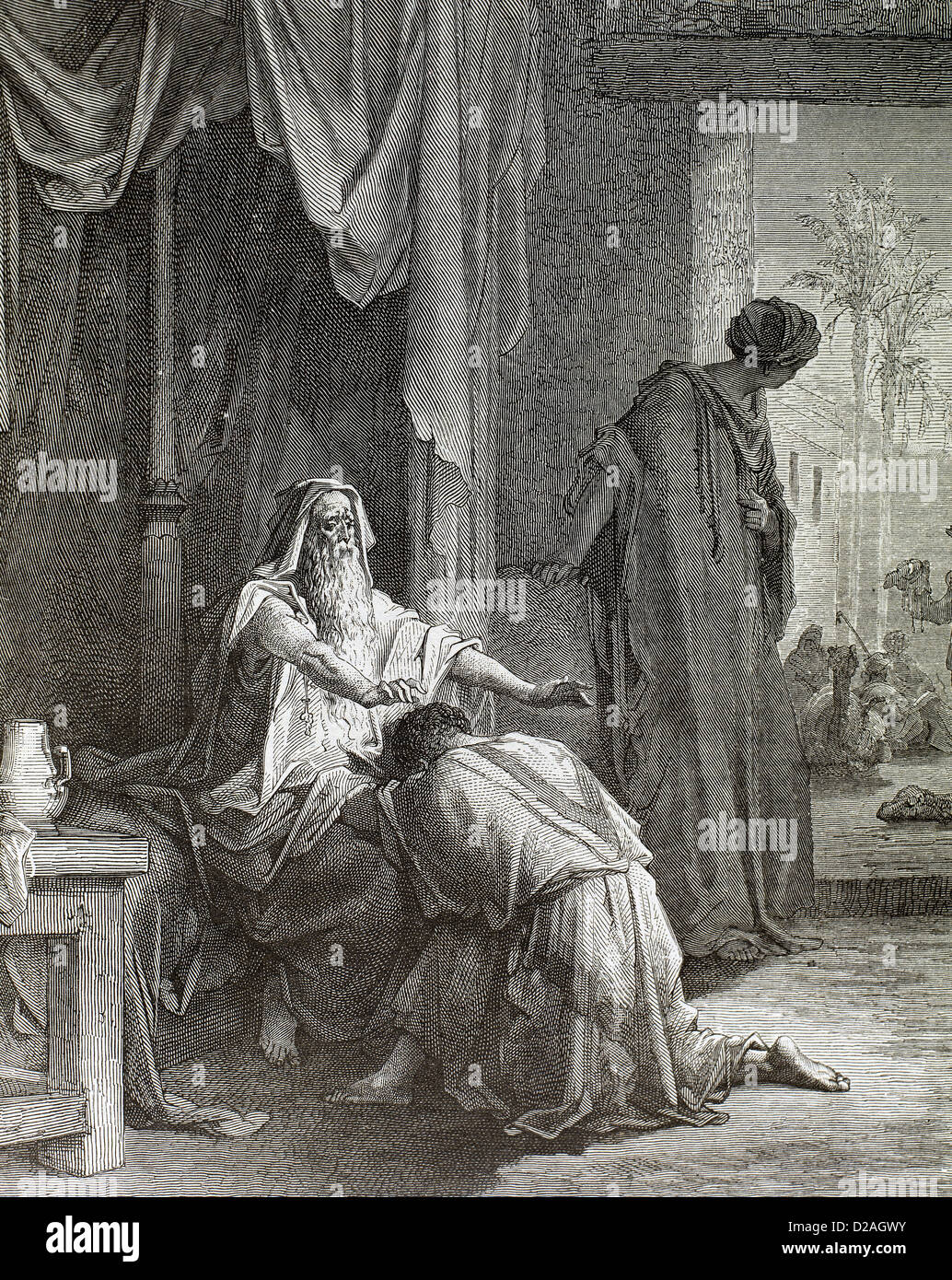 Old Testament. Book of Genesis. Hebrew patriarch Isaac blesses his son Jacob and sends him to Mesopotamia. Engraving - Stock Image